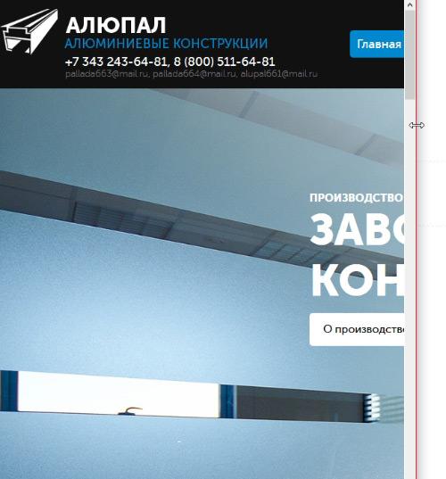 Образец адаптивной версии сайта