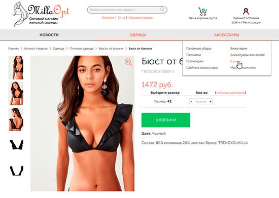 Пример ниши для интернет магазина